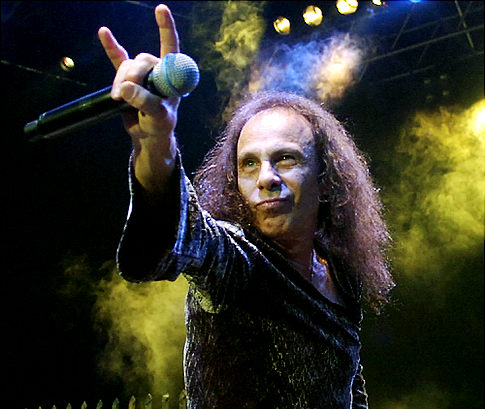 "July 7, 2007, Ronnie James Dio performs with British heavy metal group ""Heaven and Hell"" during the 41th Montreux Jazz Festival in Montreux, Switzerland.  (AP Photo/Keystone, Sandro Campardo)"