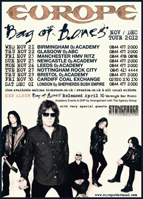 Europe's Bag of Bones UK 2012 Tour